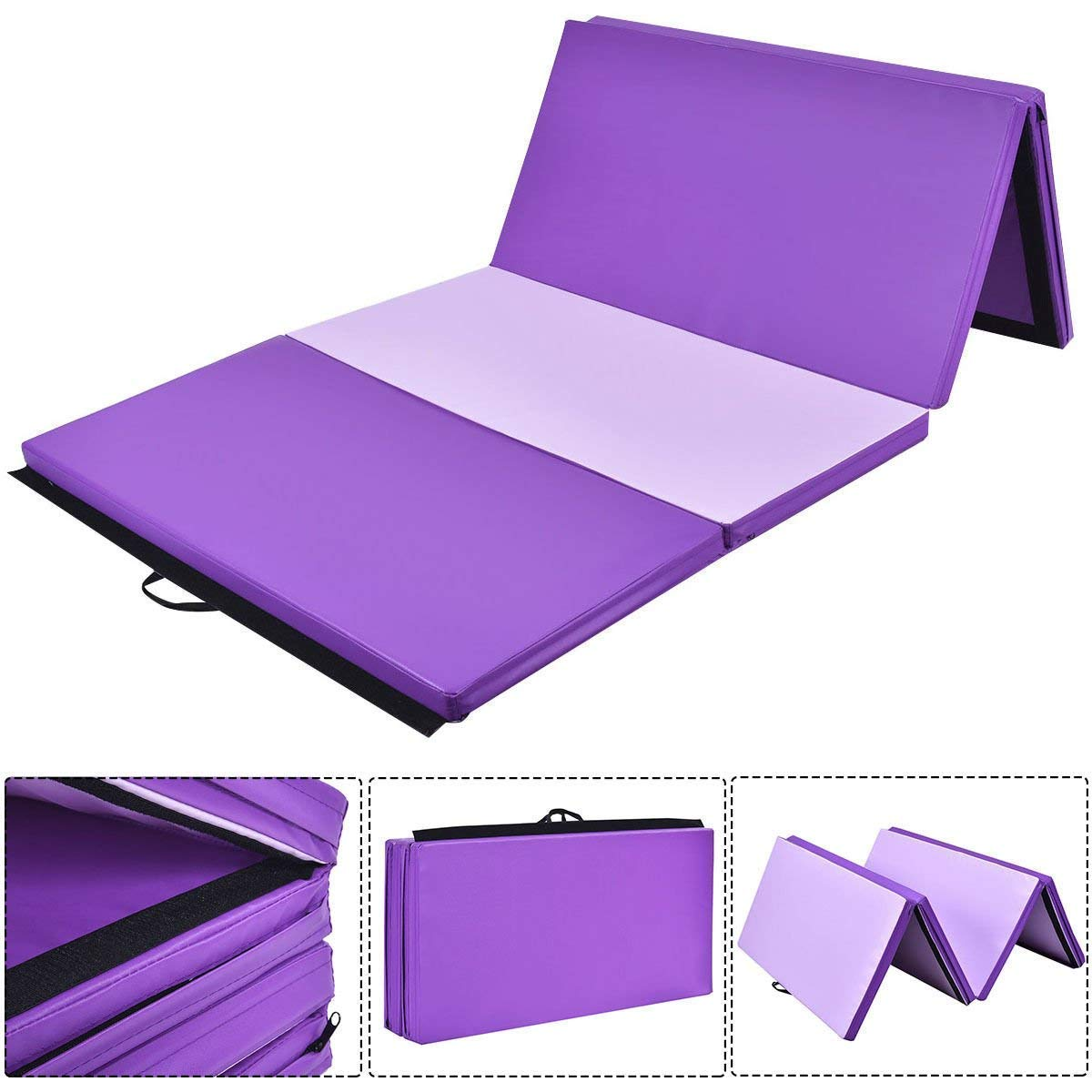 Giantex Gymnastics Mat Thick Folding Panel Gym Fitness Exercise Mat (Purple/Pink 4'x10'x2)