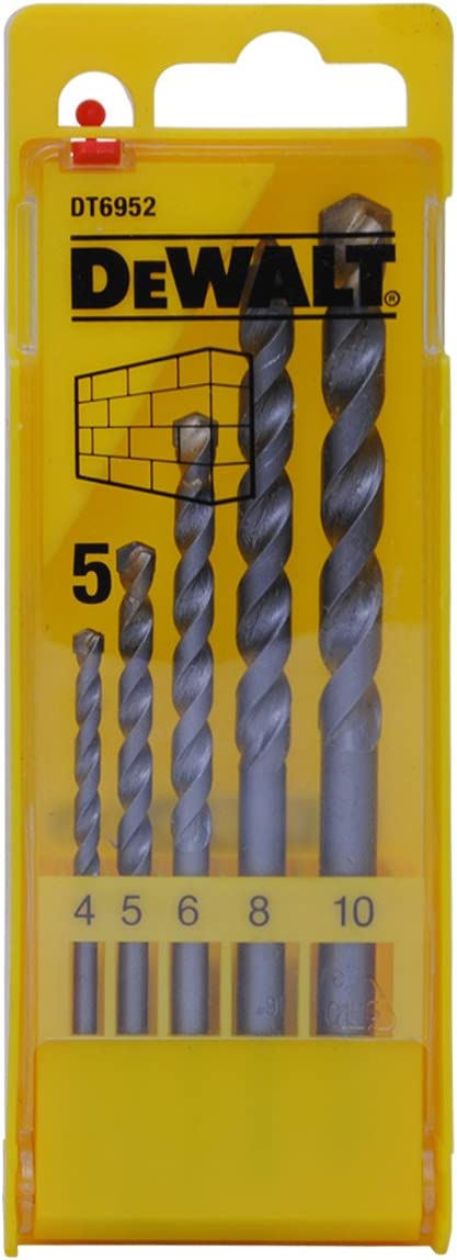 Dewalt DT6952-QZ DT6952-QZ-Juego de 5 brocas para piedra en cassette de plástico Ø 4,5,6,8,10mm, 0 W, 0 V, Acero Inoxidable, 4, 5, 6, 8, 10 mm