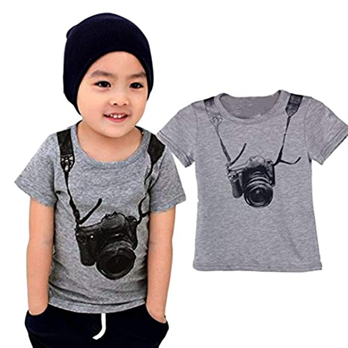 1-6 Years Summer Children Boy Kids Tees Camera Short Sleeve Tops T Shirt Clothes