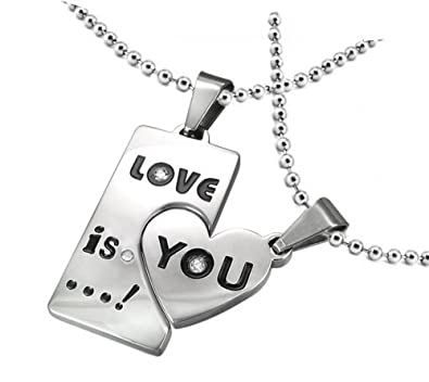 Amazon his and hers necklace set stainless steel 2 piece love his and hers necklace set stainless steel 2 piece love is you heart pendants chains mozeypictures Image collections