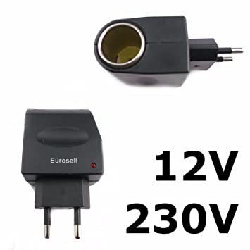 Adaptador de 230 V/12 V coche 230 V casa de corriente 12 V ...