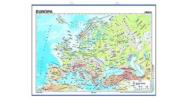 Mapa mural Europa impreso a doble cara Físico / Político ...