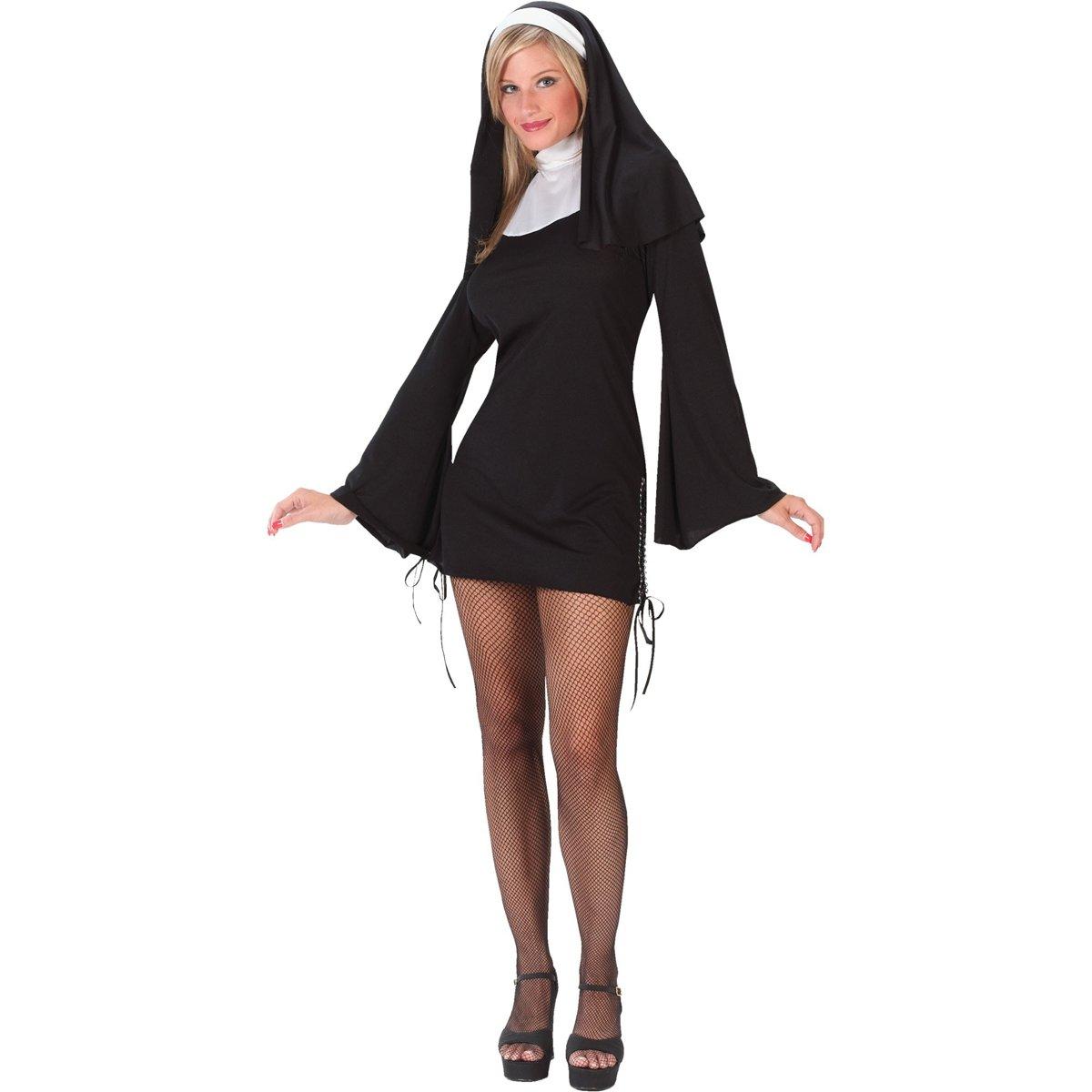 FunWorld Women's Naughty Nun, Black, M/L 10-14 Costume