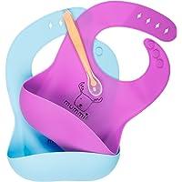 MUMMIK Bavaglino in Silicone Impermeabili Raccoglipappa per Bambini e Bambine! Facile da Pulire, Pieghevole, Ecologico, Morbido, Regolabile. Set 2 Pezzi (Viola/Turchese), Cucchiaio Pappa INCLUSO