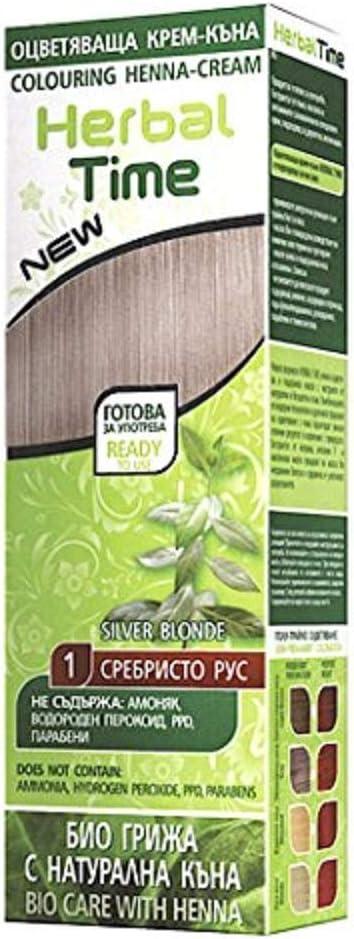 Herbal Time Henna Natural Colorante en Crema, Color Rubio Plata 1 Sin Amoniaco, Sulfatos y Parabenos