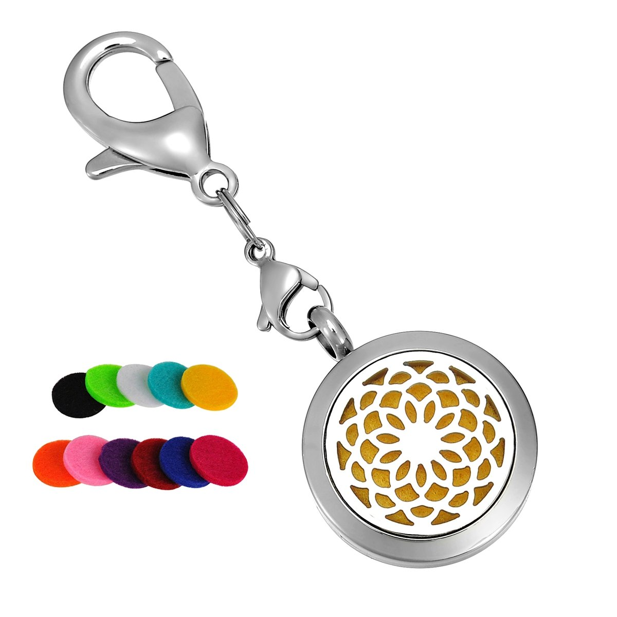 HooAMI Aromatherapy Essential Oil Diffuser Necklace-Stainless Steel Sunflower Locket Pendant, 11 Refill Pads TY BETY104132+BETY110351