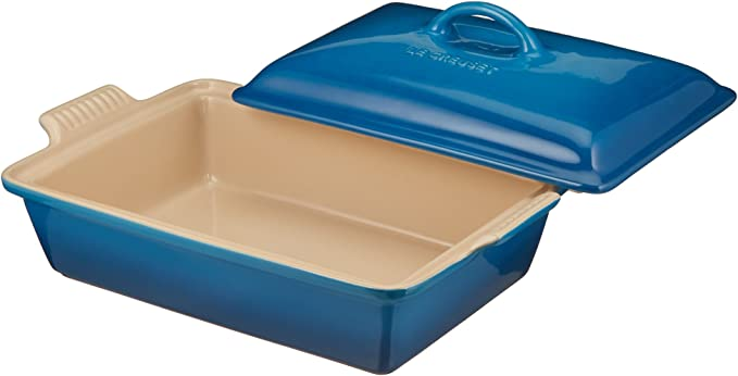 Metallic White Le Creuset PG07053A-33296 Heritage Stoneware Covered Rectangular Casserole 4-Quart
