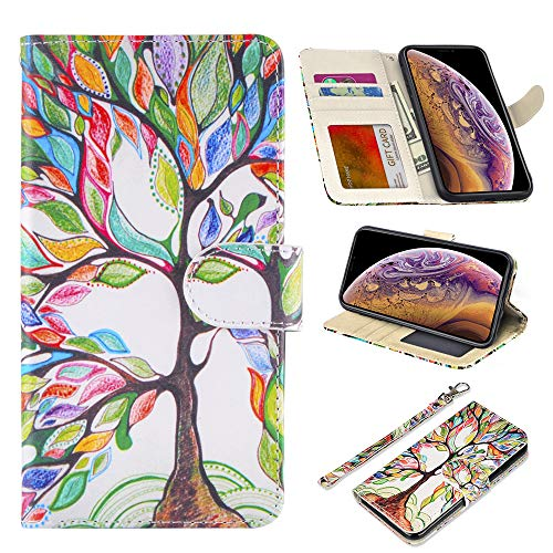 UrSpeedtekLive iPhone Xs Max Case 6.5 inch(2018), iPhone Xs Max Premium PU Leather Wristlet Flip Wallet Case Cover w/Card Slots & Stand-Love Tree
