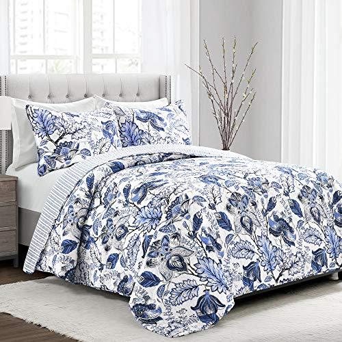 Lush Decor Cynthia Jacobean Quilt 3 Piece Reversible Bedding Set, King, Blue