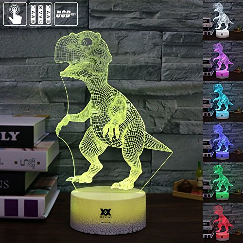 Children Gift Dinosaur 3D Visual Illusion Night Light Xmas Chirstmas Halloween Birthday Gift Baby Nursery Bedroom Theme Table Decor Night Lamps Light for Boys Kids by HUI Yuan (Dinosaur) for $<!--$17.99-->