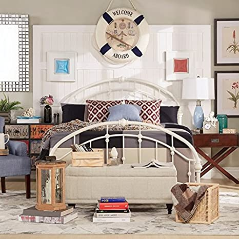 White Antique Vintage Metal Bed Frame Rustic Wrought Cast Iron Curved Round  Headboard and Footboard Victorian Old Fashioned Bedroom Furniture Kit ...