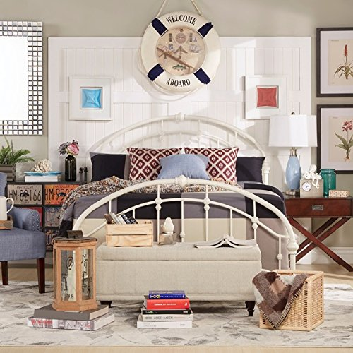 White Antique Vintage Metal Bed Frame Rustic Wrought Cast Iron Curved Round Headboard and Footboard Victorian Old Fashioned Bedroom Furniture Kit Mattress Bedding Not Included (Full) Antique White Metal Bed