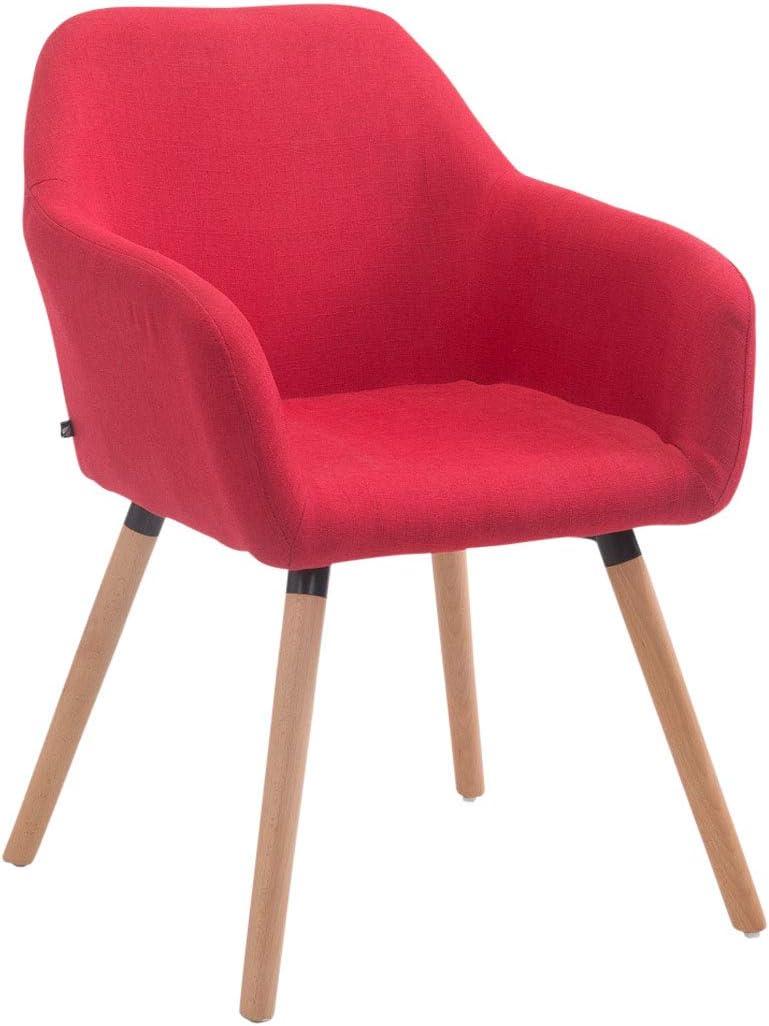 Chaise Visiteur ACHAT V2 Revêtement en Tissu Piètement en Bois Chaise de Salon Confortable Rembourrée Design Retro avec Dossier et Accoudo,