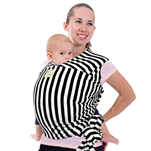 Baby Wrap Carrier All-in-1 Stretchy Baby Wraps - Baby Sling - Infant Carrier - Babys Wrap - Hands Free Babies Carrier Wraps - Baby Shower Gift (Black Stripes)