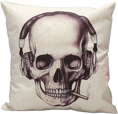 iHome Almohada Decorativa Case, Espacio de algodón Lino, 45 x 45 cm, Calavera Cráneo con Auriculares Auricular: Amazon.es: Joyería