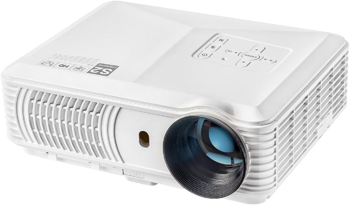 mileagea LED proyector Full HD 720P 2800 lumens Multimedia Proyector de vídeo para vídeo Home Cine Película TV Smartphone Blanco: Amazon.es: Informática