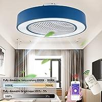 Plafondventilator met verlichting, led-ventilator, plafondlamp, dimbaar met afstandsbediening, instelbare windsnelheid…