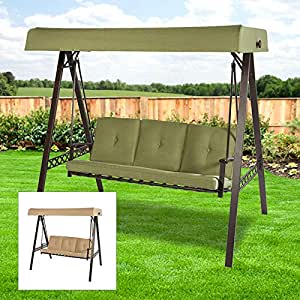 Open Box Replacement Canopy Top Cover For Garden Treasures 39 3 Person Swing