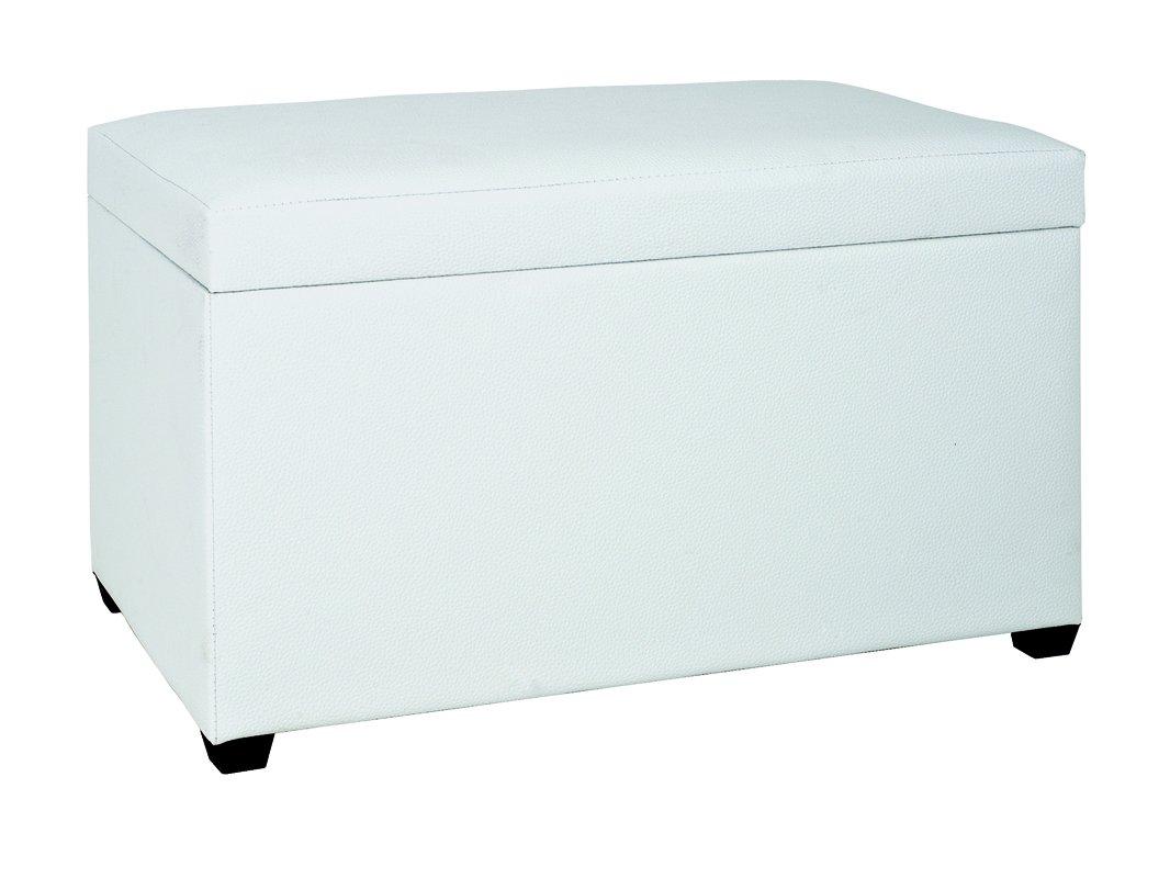 Banc de rangement en MDF - Polyuréthane blanc - Dim : L65 x P40 x H42 cm -PEGANE-
