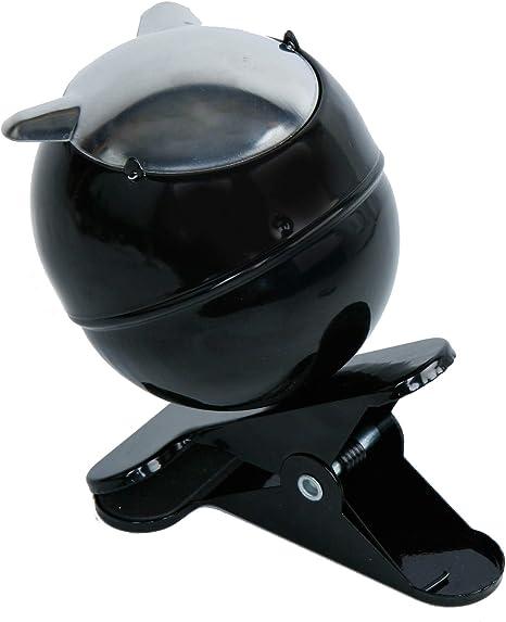 Mik Funshopping Klemm Aschenbecher Clip Ashtray Mit Umklappbarem Deckel Schwarz Silber Küche Haushalt