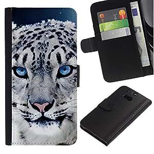 KingStore / Leather Etui en cuir / HTC One M8 / Leopardo Cub Cachorro de animales de piel Ojos