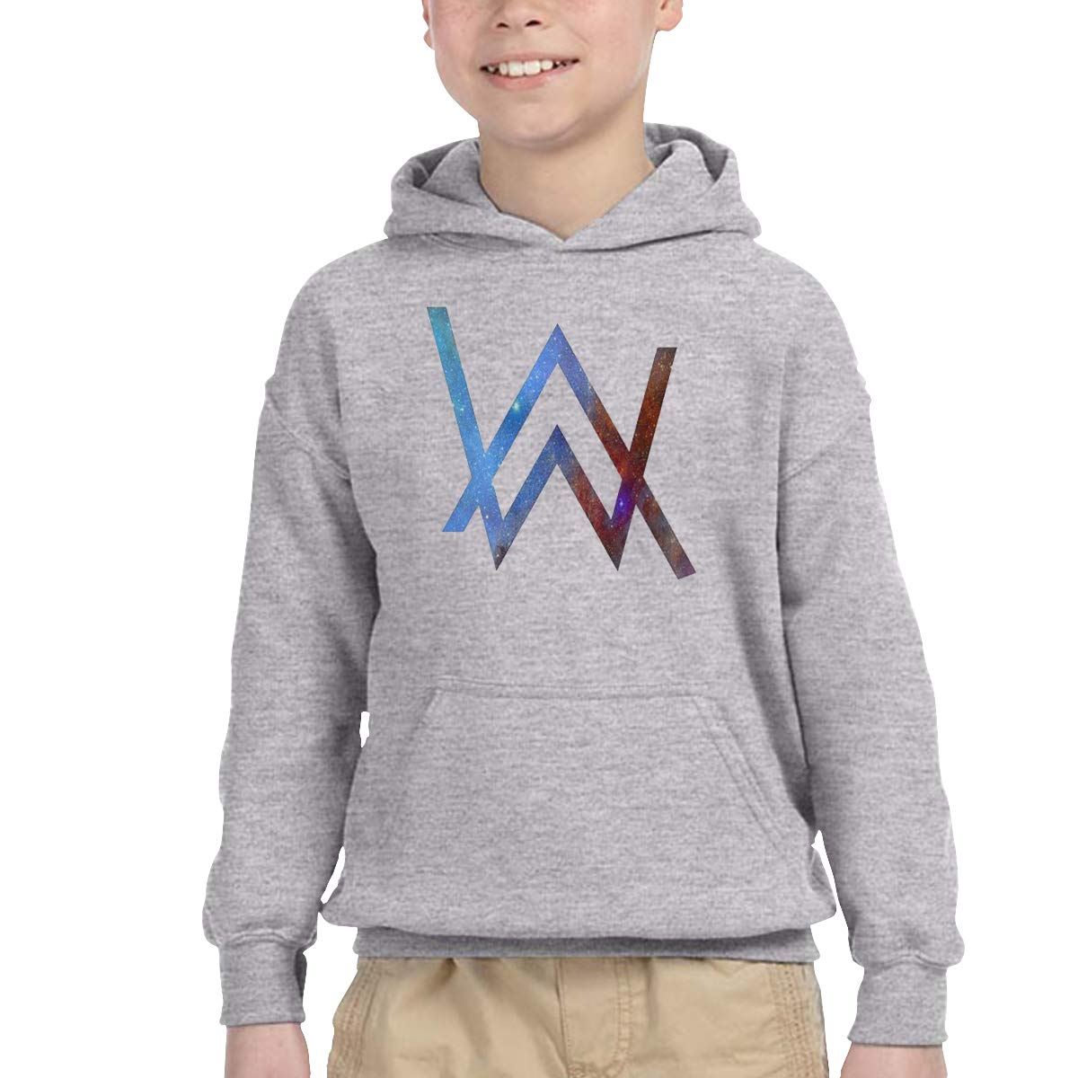 DAWEIshop 2-6 Year Old Childrens Hooded Pocket Sweater Alan Walker New Personality Cool Trend Creation Gray
