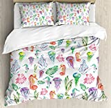Jellyfish Queen Size Duvet Cover Set by Ambesonne, Pattern with Colorful Seahorses Jellyfish and Seaweed Algae Fun Cheerful Design, Decorative 3 Piece Bedding Set with 2 Pillow Shams, Multicolor