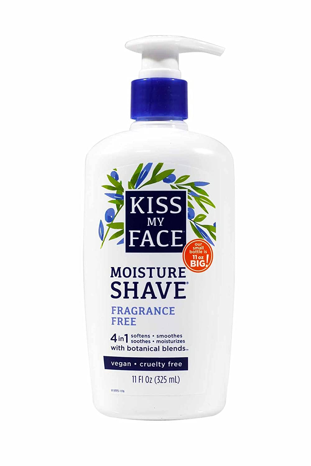 Kiss My Face Moisture Shave 11oz Fragrance Free 4-in-1 Pump (6 Pack)