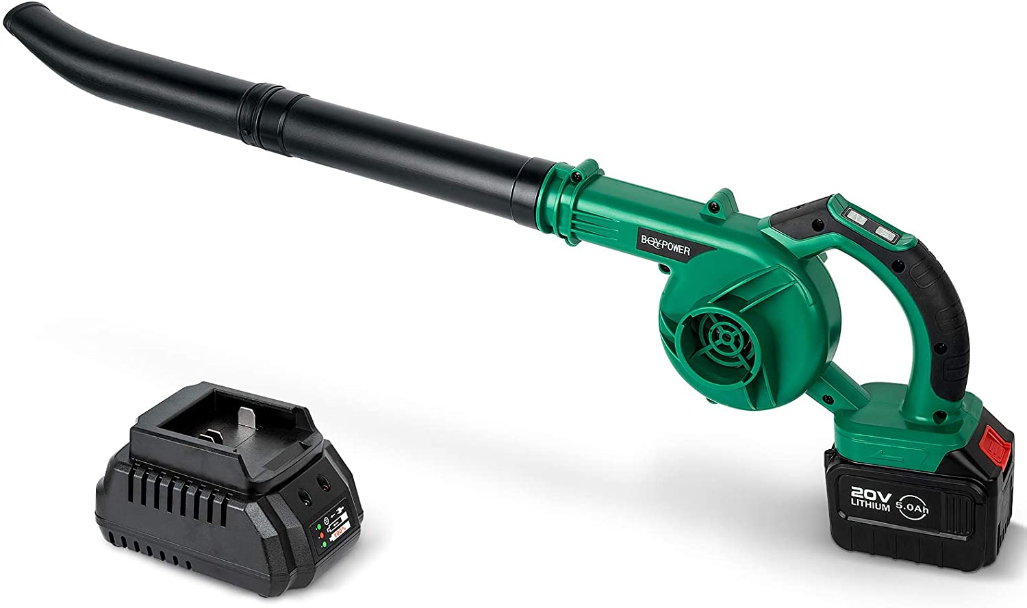 Leaf Blower, 2-in-1 Sweeper Vacuum, BQYPOWER 20V 150MPH Electric Leaf Blower 5.0Ah Lithium Battery Variable Speed Leaf Blower Cordless with Battery and Charger for Blowing Leaves, Snow Debris, Dust