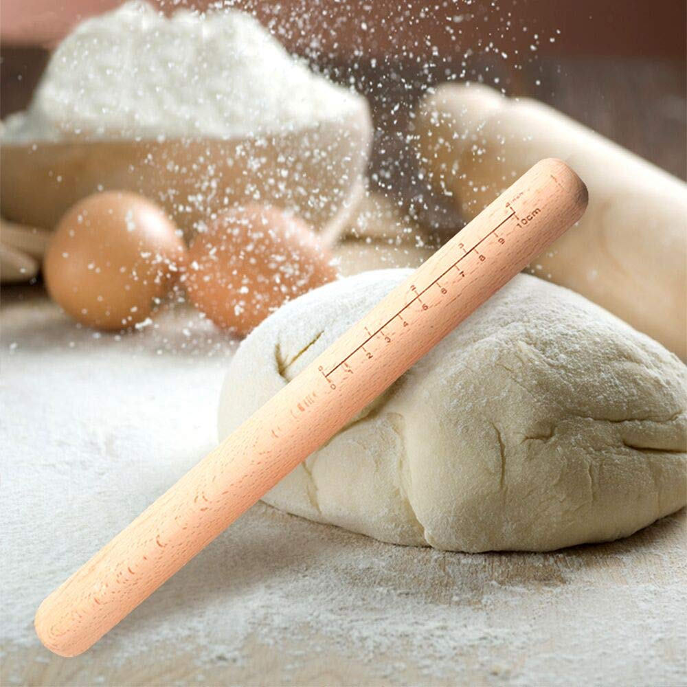 Kitchen Utensils Tools Gift Idea Baker -Free gift Childrens rolling pin Super Gourmet Beech Professional with Scale Rolling Pin Baker Roller for Pie Shell Biscuits and Pastry Dough Pasta