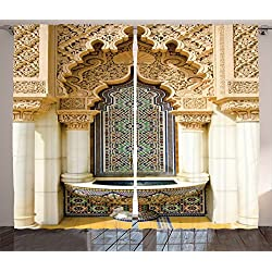 Moroccan Decor Curtains By Ambesonne, Vintage Building Design Islamic Housing Art Historic Exterior Facade Mosaic Tap , Living Room Bedroom Decor, 2 Panel Set, 108W X 90L Inches