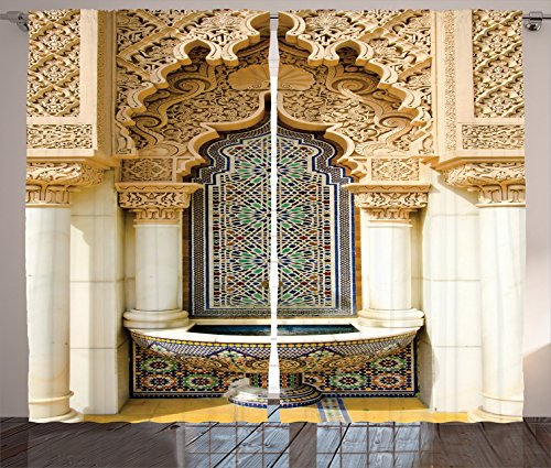 Moroccan Decor Curtains By Ambesonne, Vintage Building Design Islamic Housing Art Historic Exterior Facade Mosaic Tap , Living Room Bedroom Decor, 2 Panel Set, 108 W X 84 L Inches by Ambesonne