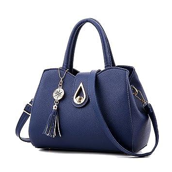 3e349901bb7cc ZiXing Frauen PU Leder Henkeltaschen Schultertaschen Tasche Handtasche Mit  Schulterriemen Blau