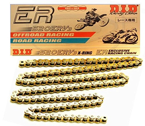 D.I.D 520ERV3-150 Gold 150-Link High Performance X-Ring Chain with Connecting Link by D.I.D.