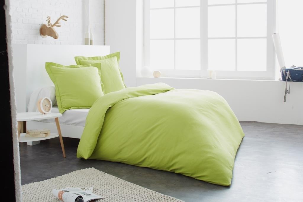 Bettwäsche Bettbezug 260 x 240 cm + 2 Kopfkissenbezüge 65 x 65 cm, Limettengrün – 100% Baumwolle Flanell