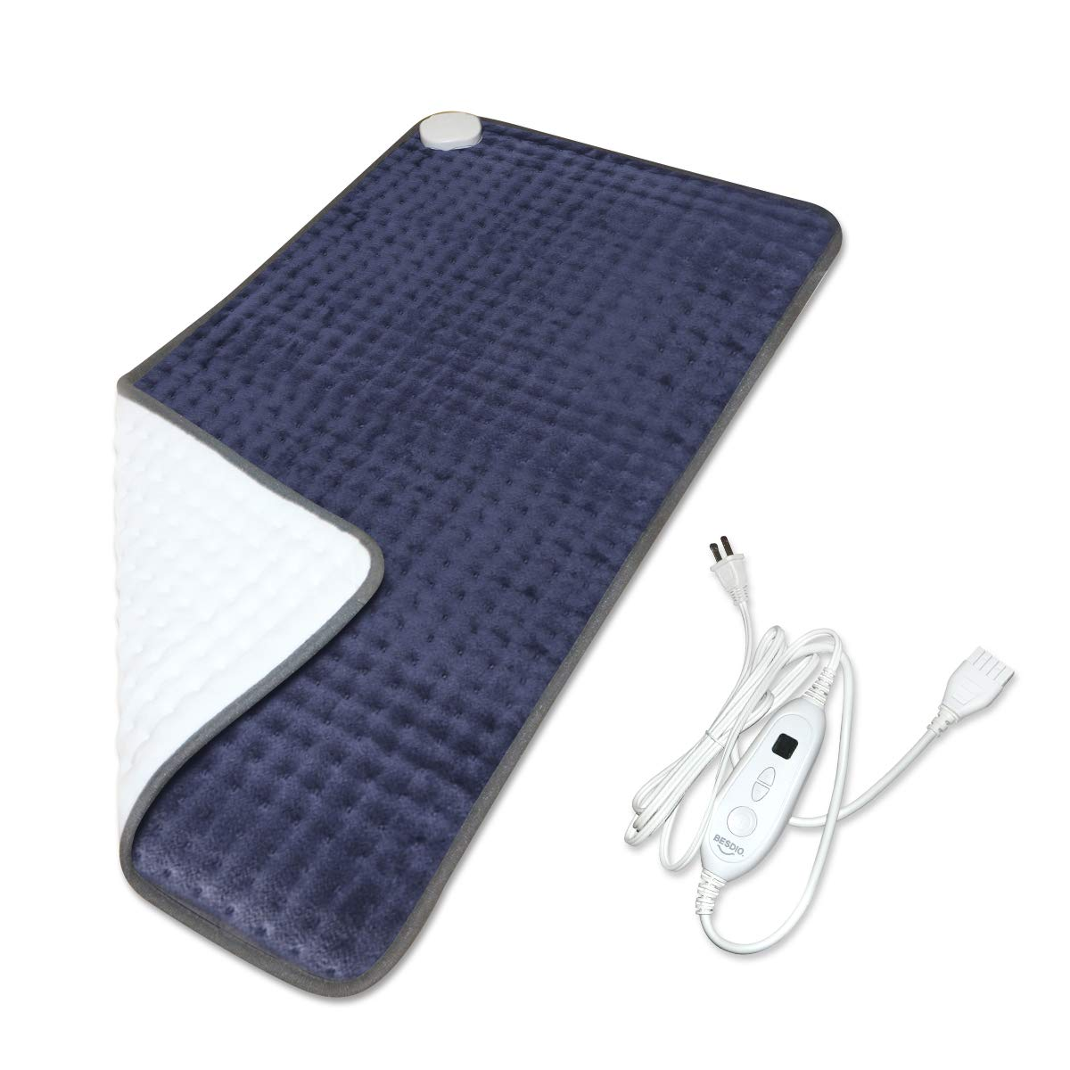 BesDio XXX-Large Heating Pad for Fast Pain Relief, UL Certificate FDA Approved, 6 Heat Settings with Auto Off, Moist Heat Therapy Option, Machine Washable, 33'' x 17'' by BesDio