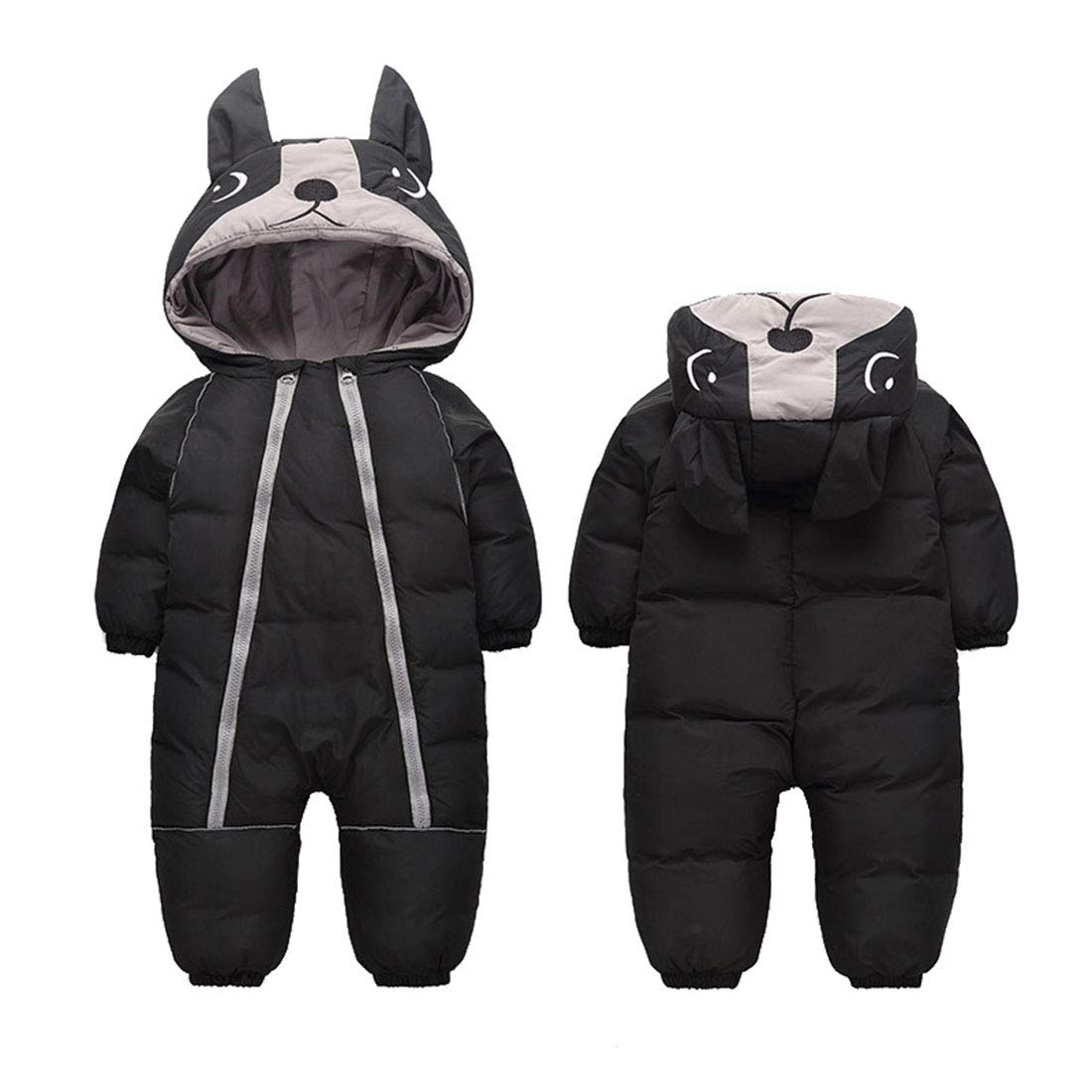 Cute Black Baby Onesie Snowsuit Soft Silky Lining Romper with Hood Zipper Closure for 3T Baby Black by Ohrwurm