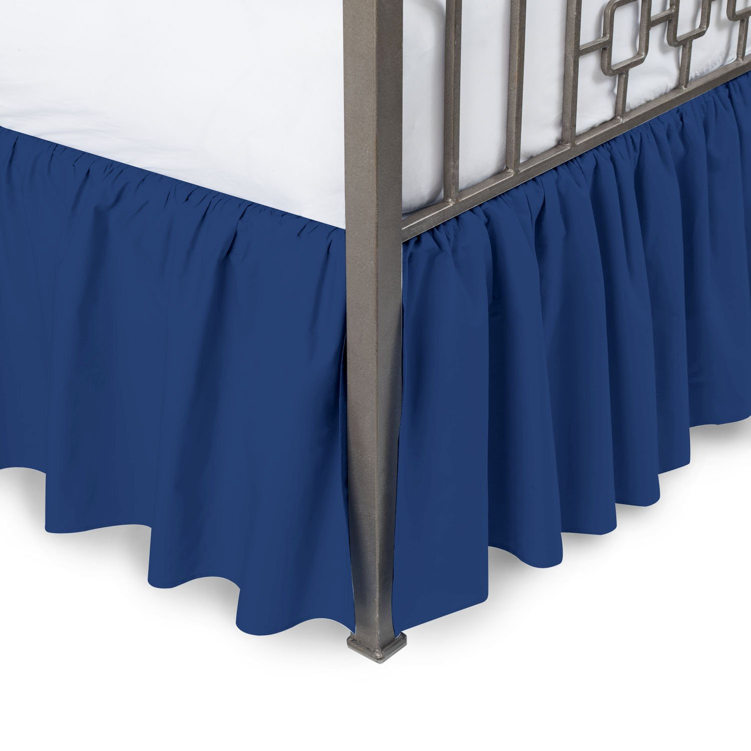 Vivacious Collection Hotel Quality 800TC Pure Cotton Dust Ruffle Bed Skirt 16'' Drop length 100% Egyptian Cotton Navy Blue Queen Size