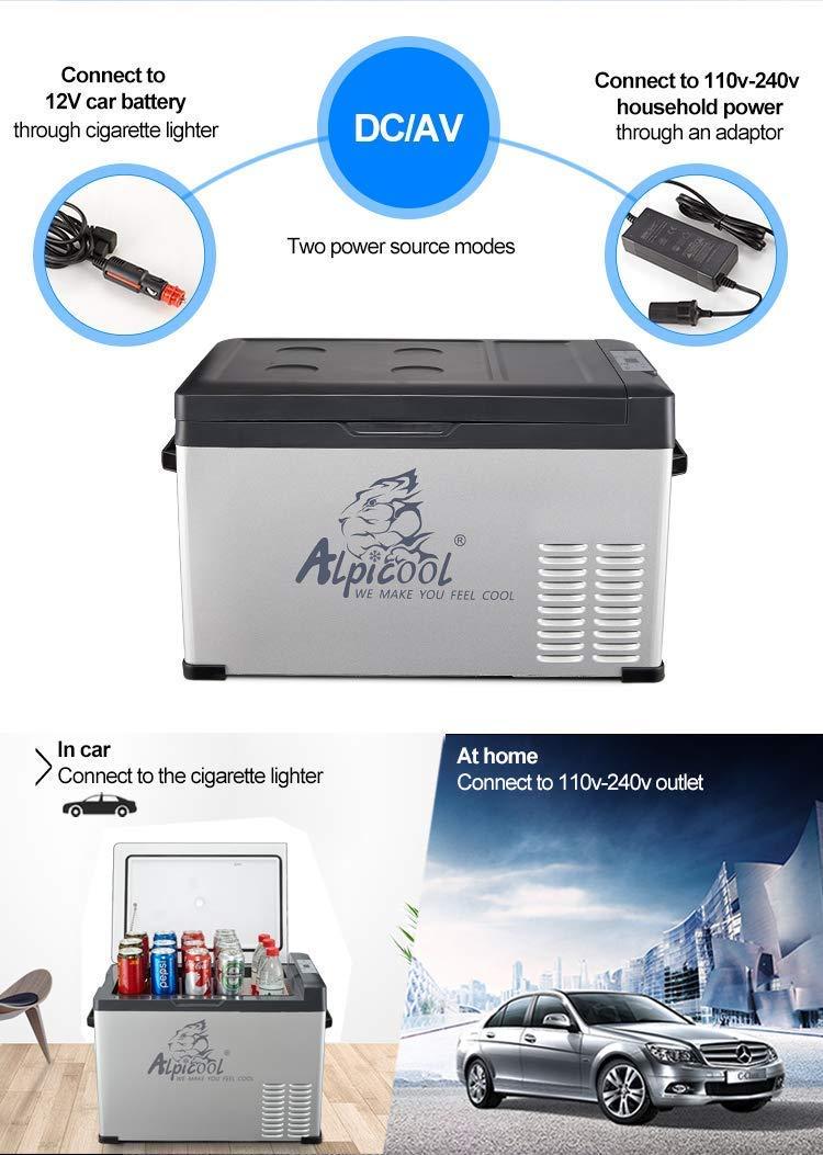 ZZKK Refrigerador Portable, Coche, Turck, RV, Barco, Mini congelador del refrigerador para el Uso del Recorrido, al Aire Libre y casero-12/24V C.C. y CA ...