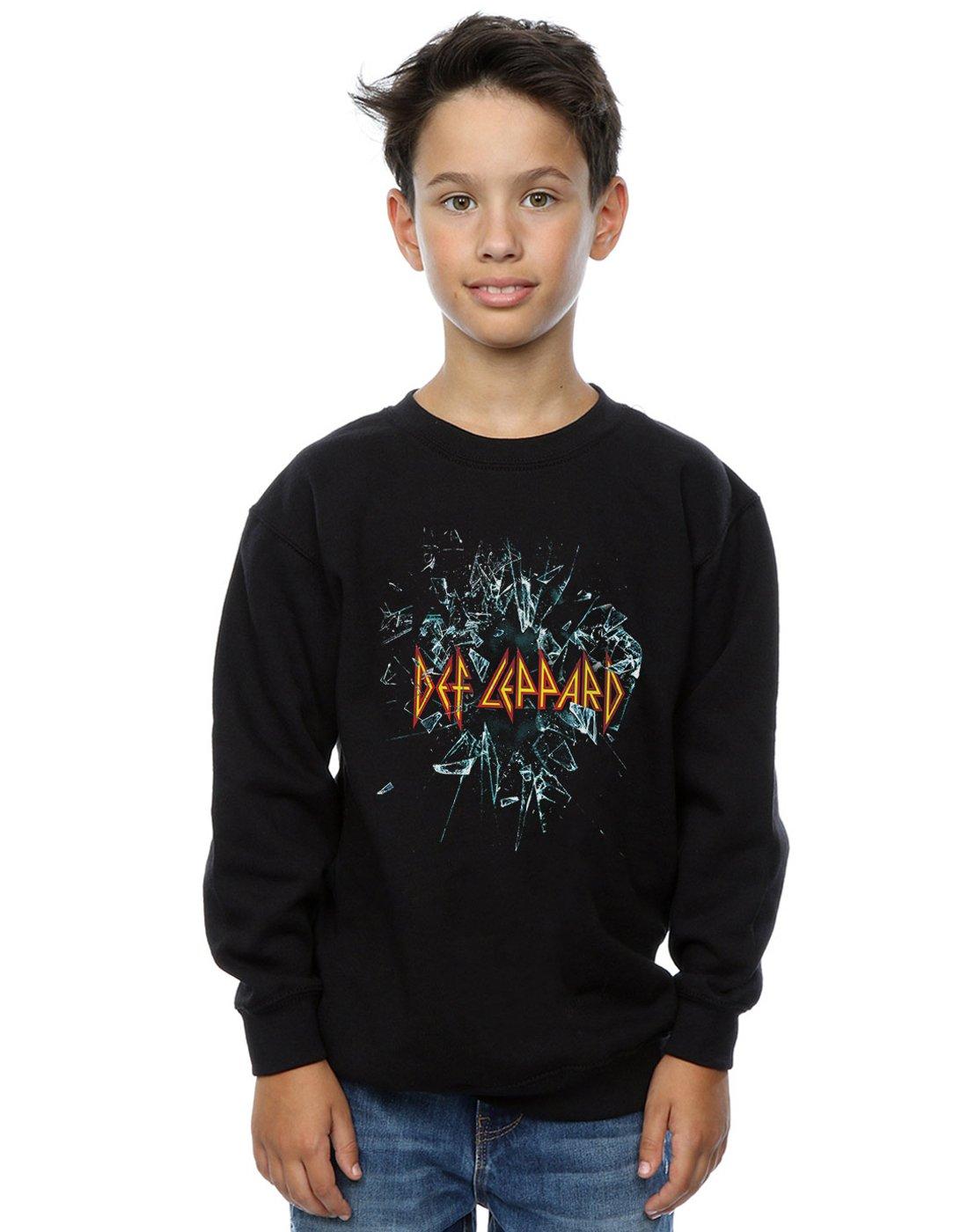 Absolute Cult Def Leppard Boys Glass Shatter Sweatshirt Black 7-8 Years