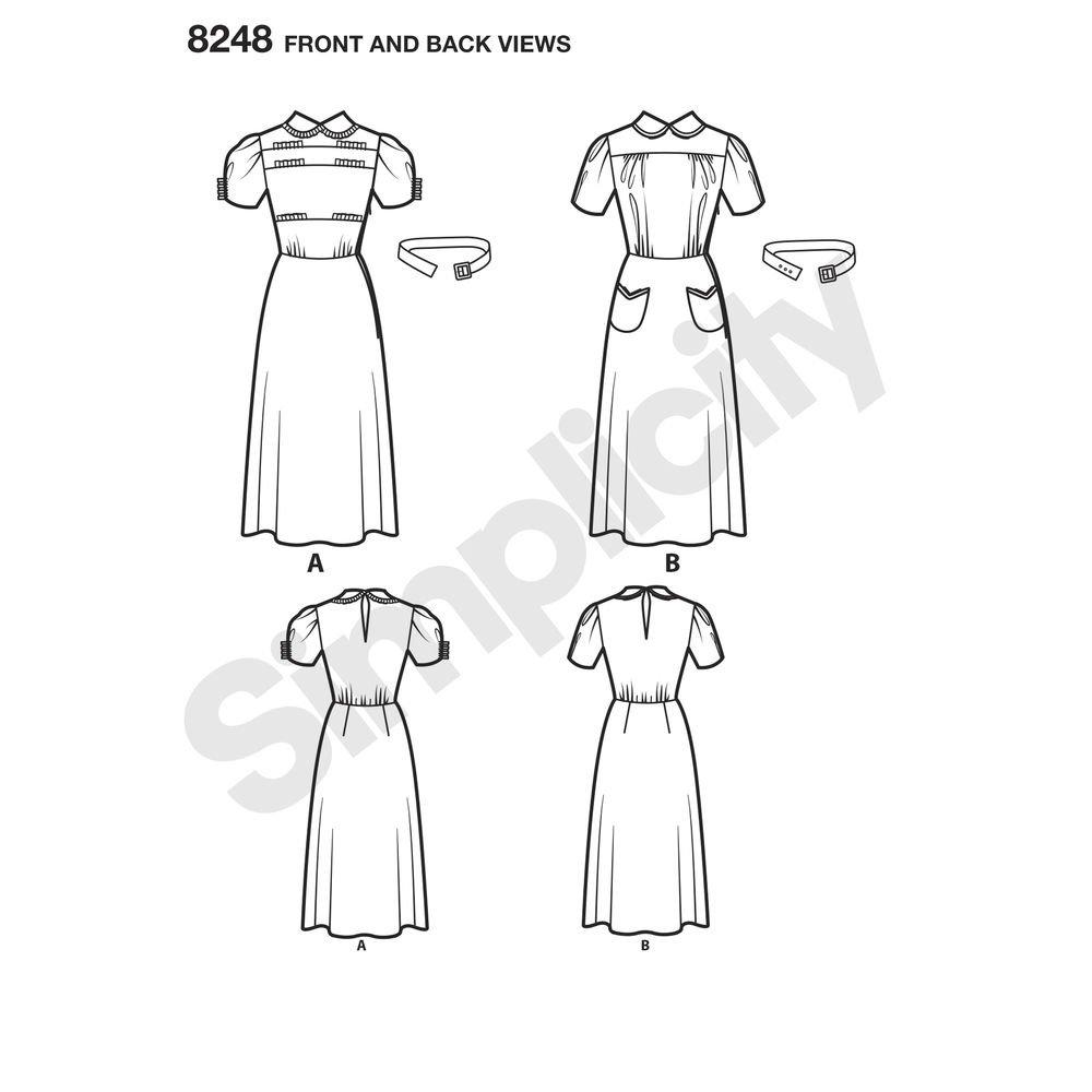 Simplicity Pattern 8248 D5 Patrones de Costura para Vintage 1930 del ...