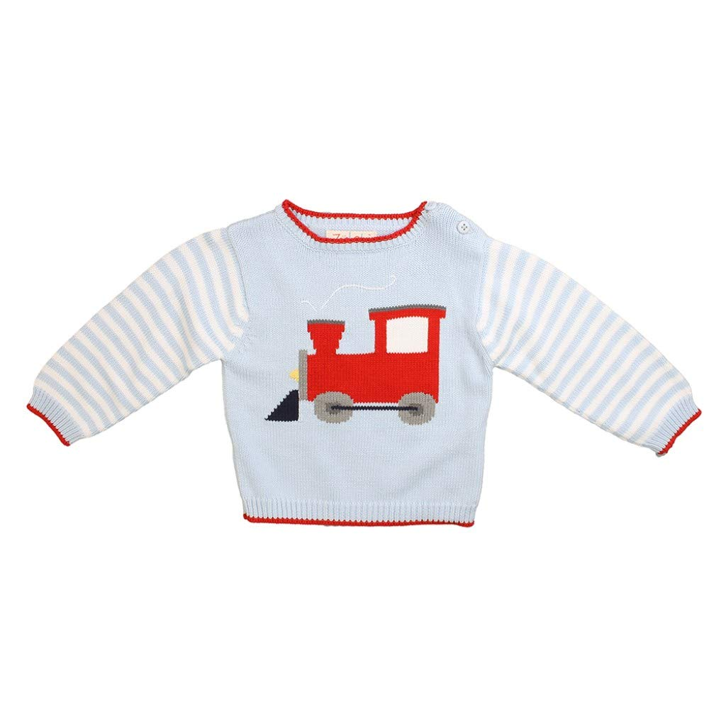 Zubels Hand-Knit Train Engine Sweater, 6M - All-Natural Fibers, Eco-Friendly Blue by Zubels