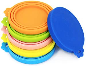Comtim Pet Can Covers/6 Pack Silicone Dog Cat Food Can Lids/Universal Size Fit Most Standard Size Cans