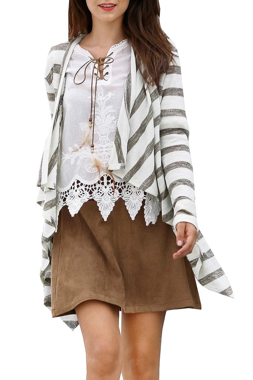 4226e4a59b JUNNIOR Women s Fashion Geometric Print Drape Boho Open Front Cable Knit  Sweater Cardigans at Amazon Women s Clothing store