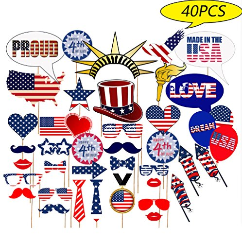 Luau Photo Booth Props - For Star/Uncle Sam Hat Tropical Party Decorations Supplies 40pcs ()
