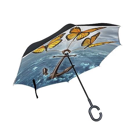 Amazon.com: Paraguas de doble capa invertido, plegable ...
