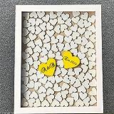 Susie85Electra Personalized Initials Wedding Guest Book Wood Frame with Heart,Wedding Guest Book Alternative Top Heart Drop,Wedding Shadow Box,Rustic Wedding Decor 30x35cm