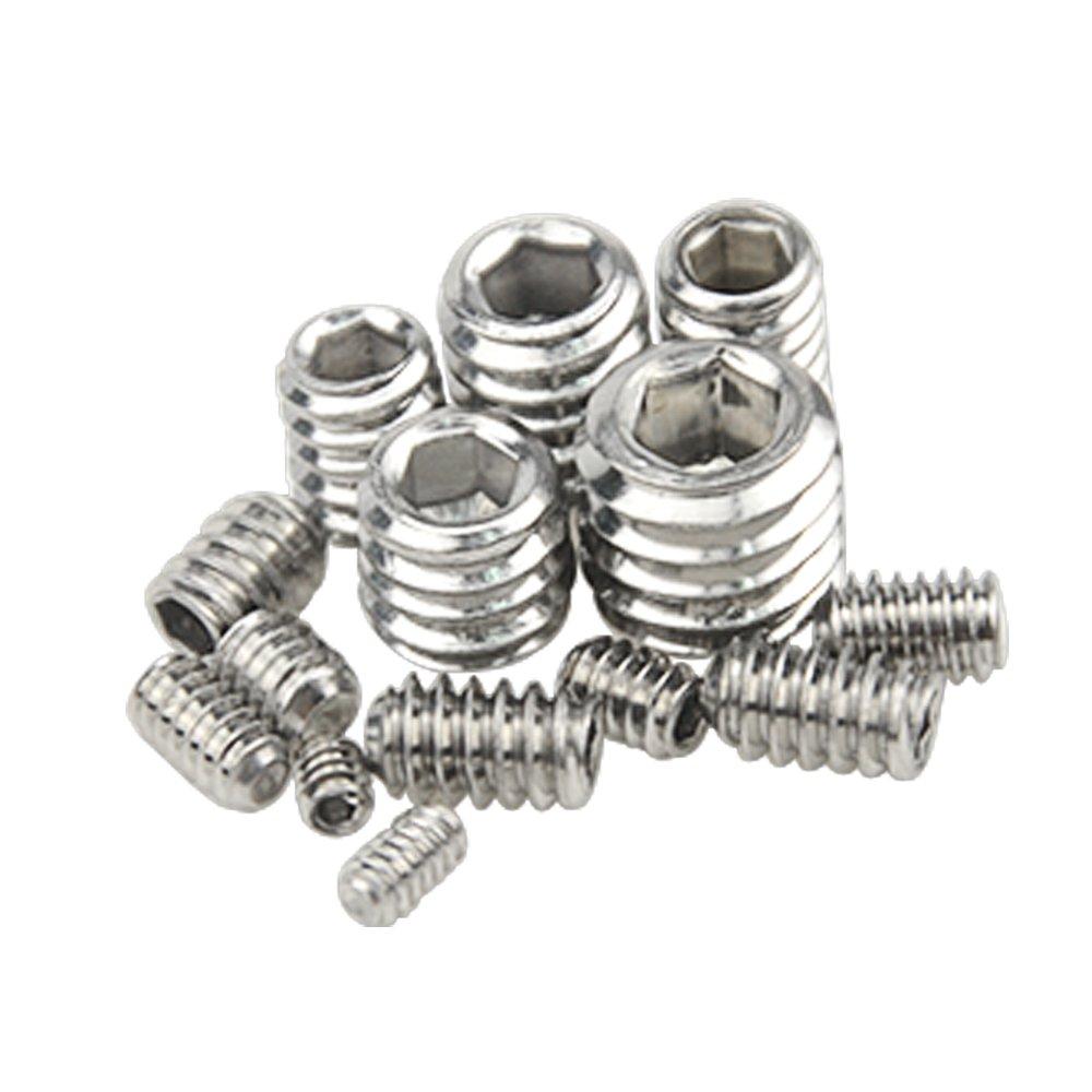 XLX 280pcs 304 Stainless Steel Allen Head Socket 4#-401//8 to 3//8-163//8 Hex Grub Screw Set Assortment Kit with Plastic Box Allen Socket Hex Grub Screw Set