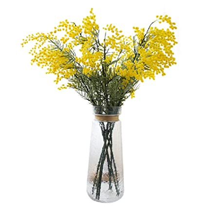 Cadeve 4pcs Yellow Artificial Flower Mimosa Spray Pudica Acacia
