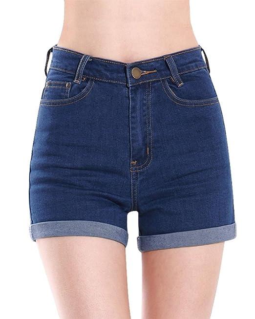 ORANDESIGNE Mujeres Verano Boyfriend Cintura Alta Retro Shorts Pantalones Cortos de Mezclilla Vaqueros Cortos Hot Jeans Denim Shorts